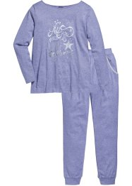 Pyjama, bpc bonprix collection, violet chiné/imprimé argenté