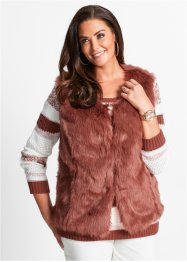 Gilet sans manches en synthétique imitation fourrure, bpc selection, marron marsala