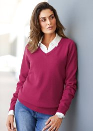 Pull col V avec cachemire, bpc selection premium, rouge baie