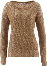 Pull bicolore, bpc bonprix collection, cognac marron/blanc cassé
