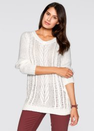 Pull long effet brillant, bpc bonprix collection, blanc cassé/cuivre chiné