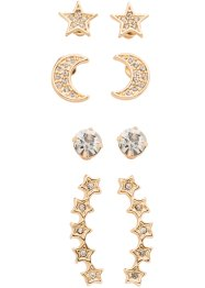 Set de boucles d'oreilles (8 pces.), bpc bonprix collection, doré