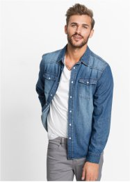 Chemise en jean manches longues Slim Fit, RAINBOW, bleu stone used