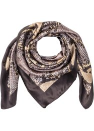 Petit foulard aspect soie, bpc bonprix collection, noir/marron/gris