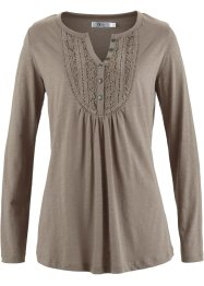 T-shirt manches longues en fil flammé, bpc bonprix collection, taupe