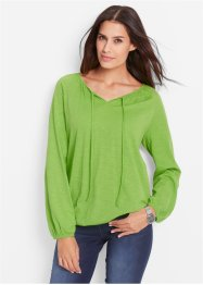 T-shirt manches longues en fil flammé, bpc bonprix collection, vert figue