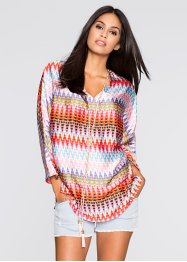 Blouse-tunique, BODYFLIRT, orange/rouge/bleu clair imprimé