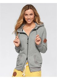 Veste sweatshirt manches longues, bpc bonprix collection, gris chiné