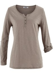 T-shirt tunique manches longues fil flammé, bpc bonprix collection, taupe