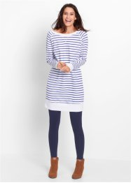 Robe sweat-shirt, bpc bonprix collection, bleu saphir/blanc