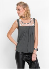 MUST-HAVE : Top avec dentelle, RAINBOW, anthracite/blanc cassé