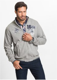 Gilet sweat col montant Regular Fit, bpc selection, gris clair chiné