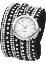 Montre double tour avec strass brillants, bpc bonprix collection, noir/argenté