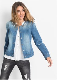 Veste en jean avec pierres décoratives, BODYFLIRT, medium bleu denim