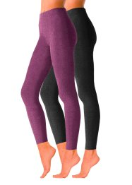Leggings en maille LAVANA (lot de 2), LAVANA, prune/noir