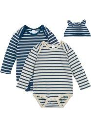 Bodies bébé manches longues + bonnet (Ens. 3 pces.) coton bio, bpc bonprix collection