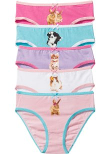 Lot de 5 slips, bpc bonprix collection, rose/mauve/blanc/turquoise