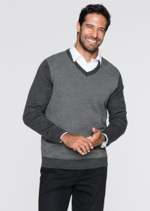 Pull col en V Regular Fit, bpc selection, anthracite chiné