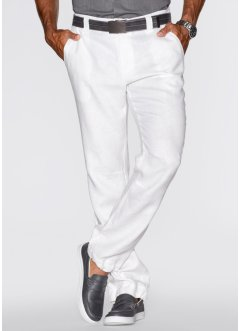 Pantalon en lin Regular Fit Straight, bpc bonprix collection, blanc