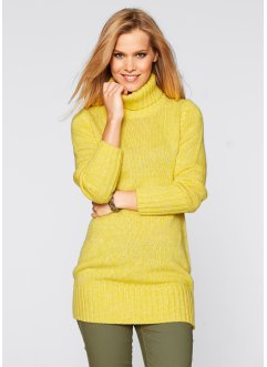Pull long col roulé, bpc bonprix collection, jaune narcisse chiné