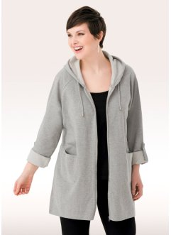 Gilet sweat long, manches longues, bpc bonprix collection, gris clair chiné
