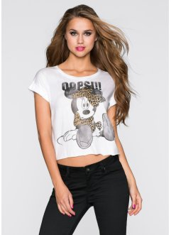 "T-shirt crop ""Minnie"", Disney, blanc imprimé"