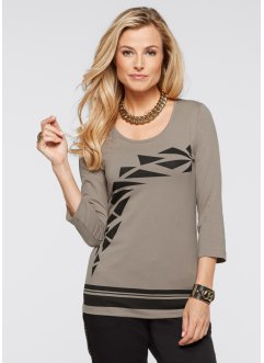 T-shirt manches 3/4, bpc selection, taupe imprimé