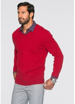 Pull laine d'agneau Regular Fit, bpc bonprix collection, rouge foncé