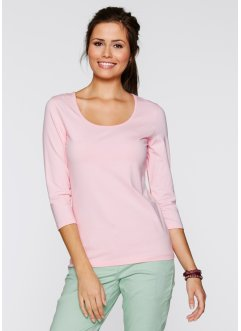 T-shirt extensible manches 3/4, bpc bonprix collection, rose poudré