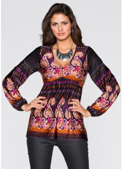 T-shirt tunique, BODYFLIRT, marron/violet