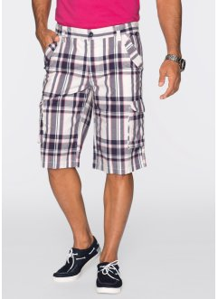 Bermuda cargo Regular Fit, bpc bonprix collection, blanc cassé/indigo à carreaux