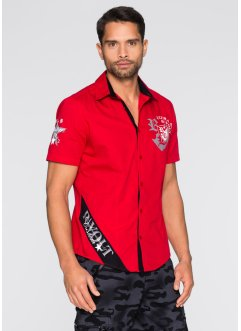 Chemise manches courtes Slim Fit, RAINBOW, rouge