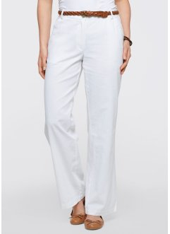 "Pantalon en lin, ""ample"", bpc bonprix collection, blanc"