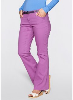 Pantalon extensible bootcut, bpc bonprix collection, mûre mat