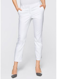 Pantalon extensible 7/8 avec pierres décoratives, bpc selection, blanc