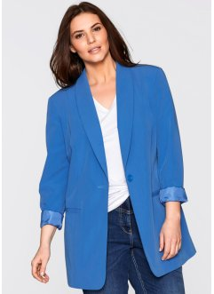 Blazer long, bpc bonprix collection, bleu glacier