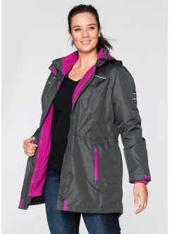 Veste longue outdoor 3en1, bpc bonprix collection, anthracite/violet orchidée
