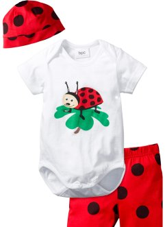 Body bébé + short + bonnet (Ens. 3 pces.) coton bio, bpc bonprix collection, rouge/noir Coccinelle