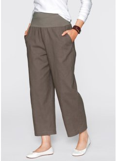 Pantalon lin 7/8 ample, bpc bonprix collection, marron moyen