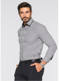 Chemise business Regular Fit, bpc selection, noir/blanc à carreaux
