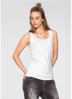Top avec biais satin, RAINBOW, blanc