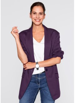 Blazer long ample, bpc bonprix collection, myrtille