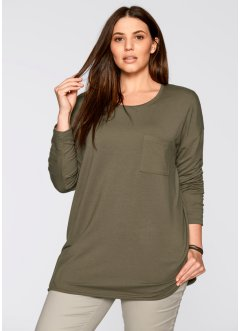 Sweatshirt oversize manches longues, bpc bonprix collection, gris clair chiné