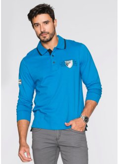 Polo manches longues Regular Fit, bpc selection, bleu capri