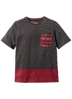 T-shirt color block avec poche poitrine, bpc bonprix collection, gris clair chiné/bordeaux