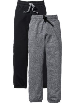Lot de 2 pantalons sweat, bpc bonprix collection, noir/gris chiné