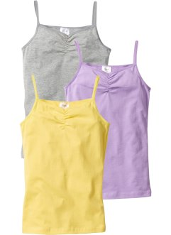 Lot de 3 tops, bpc bonprix collection, gris clair chiné/mauve/citron clair