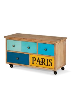 Banc Paris, bpc living, naturel/bleu/jaune