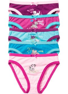 Lot de 5 slips, bpc bonprix collection, rose/fuchsia/bleu ciel