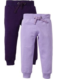 Lot de 2 pantalons sweat, bpc bonprix collection, mauve+violet foncé